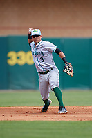 Daytona Tortugas shortstop Carlos Rivero (3) throws to first base during a game against the Florida Fire Frogs on April 8, 2018 at Osceola County Stadium in Kissimmee, Florida.  Daytona defeated Florida 2-1.  (Mike Janes/Four Seam Images)