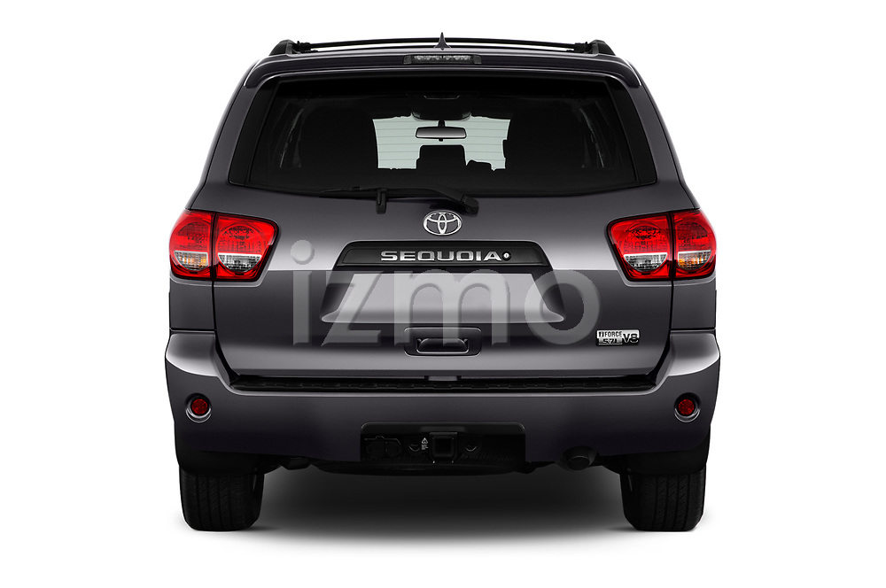 Straight rear view of a 2015 Toyota Sequoia SR5 5 Door SUV stock images