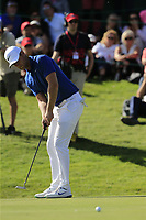 Lucas Bjerregaard (DEN) putts on the 18th green during Sunday's Final Round 4 of the 2018 Omega European Masters, held at the Golf Club Crans-Sur-Sierre, Crans Montana, Switzerland. 9th September 2018.<br /> Picture: Eoin Clarke | Golffile<br /> <br /> <br /> All photos usage must carry mandatory copyright credit (© Golffile | Eoin Clarke)