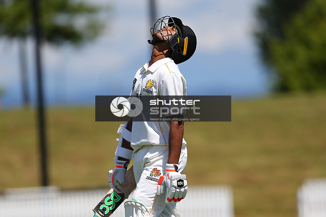 NELSON, NEW ZEALAND - DECEMBER 15: Wellington Batsman Sachin Ravindna reacts after been caught on 82 Central v Wellington - Plunket Shield Day 2 on December 15 2018 in Nelson, New Zealand. (Photo by: Evan Barnes Shuttersport Limited)