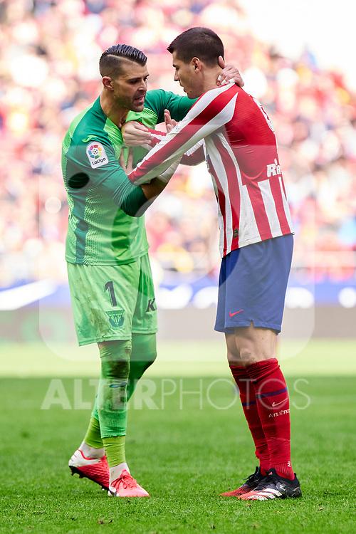 Alvaro Morata of Atletico de Madrid and Ivan Cuellar of CD Leganes during La Liga match between Atletico de Madrid and CD Leganes at Wanda Metropolitano Stadium in Madrid, Spain. January 26, 2020. (ALTERPHOTOS/A. Perez Meca)