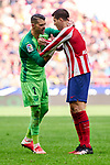 Alvaro Morata of Atletico de Madrid and Ivan Cuellar of CD Leganes during La Liga match between Atletico de Madrid and CD Leganes at Wanda Metropolitano Stadium in Madrid, Spain. January 26, 2020. (ALTERPHOTOS/A. Perez Meca)