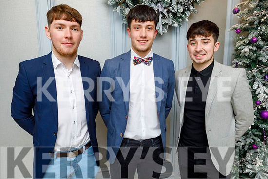 U21 hurlers Michael Slattery (Abbeydorney), Tadgh Brick (Tralee Parnells) and Shane McElligott (Lixnaw) attending the Kerry GAA Medal Presentation in the Rose Hotel on Saturday night.