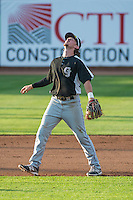 Brendan Rodgers (1) of the Grand Junction Rockies fields the pop-up during the game against the Ogden Raptors in Pioneer League action at Lindquist Field on July 6, 2015 in Ogden, Utah. Ogden defeated Grand Junction 8-7. (Stephen Smith/Four Seam Images)