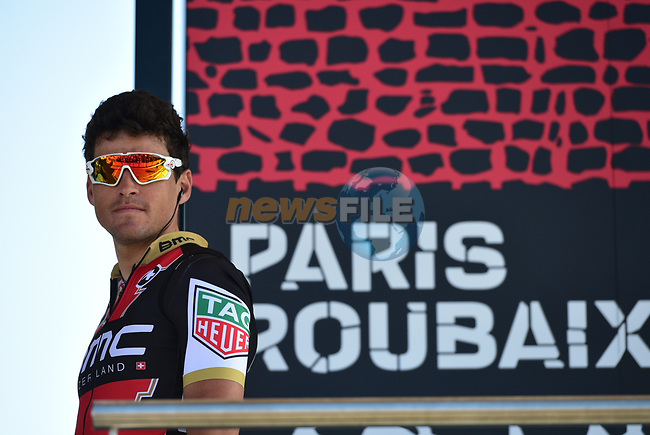 Greg Van Avermaet (BEL) BMC Racing Team at sign on for the 115th edition of the Paris-Roubaix 2017 race running 257km Compiegne to Roubaix, France. 9th April 2017.<br /> Picture: ASO/P.Ballet | Cyclefile<br /> <br /> <br /> All photos usage must carry mandatory copyright credit (&copy; Cyclefile | ASO/P.Ballet)