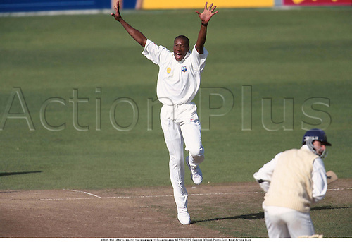 NIXON McLEAN celebrates taking a wicket, Glamorgan v WEST INDIES, Cardiff 000606 Photo:Glyn Kirk/Action Plus...2000.Cricket.celebration.celebrate.celebrating.celebrations.joy.celebrates.Bowler.bowling