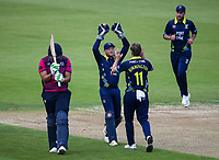 Durham players Stuart Poynter and Nathan Rimmington celebrate the dismissal of Northants Steelbacks' Rory Kleinveldt <br /> <br /> Photographer Andrew Kearns/CameraSport<br /> <br /> Royal London One Day Cup - Northamptonshire v Durham - Sunday 27th May 2018 - The County Ground, Northampton<br /> <br /> World Copyright &copy; 2018 CameraSport. All rights reserved. 43 Linden Ave. Countesthorpe. Leicester. England. LE8 5PG - Tel: +44 (0) 116 277 4147 - admin@camerasport.com - www.camerasport.com