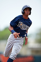 GCL Rays outfielder Oscar Rojas (6) running the bases during the second game of a doubleheader against the GCL Orioles on August 1, 2015 at the Ed Smith Stadium in Sarasota, Florida.  GCL Orioles defeated the GCL Rays 11-4.  (Mike Janes/Four Seam Images)
