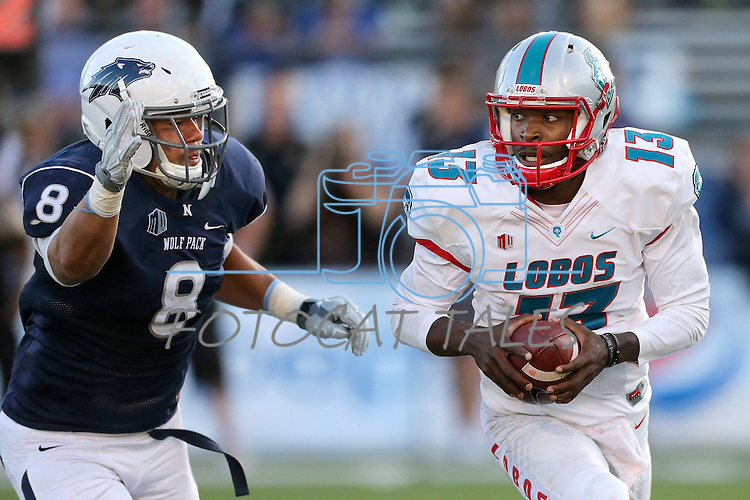 Nevada defender Ian Seau pursues New Mexico quarterback Lamar Jordan during the second half of an NCAA college football game in Reno, Nev., on Saturday, Oct. 10, 2015. Nevada won 35-17. (AP Photo/Cathleen Allison)
