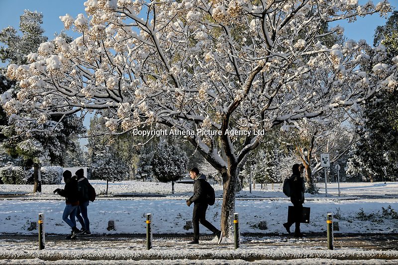 Pictured: Walkers in the Goudi district of Athens, Greece. Tuesday 08 January 2018<br /> Re: Heavy snowfall has affected most parts of Greece.