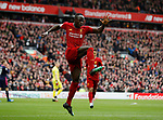 Sadio Mane of Liverpool celebrates scoring their second goal (2-1)  during the Premier League match at Anfield, Liverpool. Picture date: 7th March 2020. Picture credit should read: Darren Staples/Sportimage