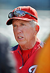 18 May 2012: Washington Nationals Manager Davey Johnson chats with media prior to a game against the Baltimore Orioles at Nationals Park in Washington, DC. The Orioles defeated the Nationals 2-1 in the first game of their 3-game series. Mandatory Credit: Ed Wolfstein Photo