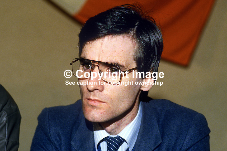 Gerry O'Hara, chairman, Provisional Sinn Fein, Londonderry, N Ireland, 19860102GOH..Copyright Image from Victor Patterson, 54 Dorchester Park, Belfast, United Kingdom, UK...For my Terms and Conditions of Use go to http://www.victorpatterson.com/Victor_Patterson/Terms_%26_Conditions.html