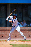 Pensacola Blue Wahoos catcher Joe Hudson (8) at bat during a game against the Mobile BayBears on April 26, 2017 at Hank Aaron Stadium in Mobile, Alabama.  Pensacola defeated Mobile 5-3.  (Mike Janes/Four Seam Images)