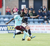 30th September 2017, Dens Park, Dundee, Scotland; Scottish Premier League football, Dundee versus Hearts; Hearts' Prince Buaben and Dundee's Paul McGowan