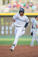 Erik Gonzalez (11) of the Columbus Clippers round the bases after hitting a solo home run in the bottom of the second inning at the 29th Annual Triple-A All-Star Game at BB&T BallPark on July 13, 2016 in Charlotte, North Carolina.  The International League defeated the Pacific Coast League 4-2.   (Brian Westerholt/Four Seam Images)