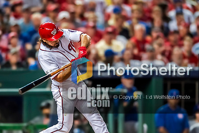 7 October 2017: Washington Nationals third baseman Anthony Rendon in action during the second NLDS game against the Chicago Cubs at Nationals Park in Washington, DC. The Nationals defeated the Cubs 6-3 and even their best of five Postseason series at one game apiece. Mandatory Credit: Ed Wolfstein Photo *** RAW (NEF) Image File Available ***