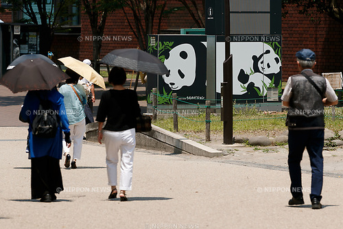 Ueno park visitors walk past a signboard for giant panda outside Ueno Zoo on June 16, 2017, Tokyo, Japan. Ueno Zoo's giant panda Shin Shin gave birth to a cub on June 12, five years after Shin Shin gave a birth to a male cub who died from pneumonia six days later. Some stores and shops around Ueno are expressing congratulatory wishes by posting messages outside their buildings. (Photo by Rodrigo Reyes Marin/AFLO)