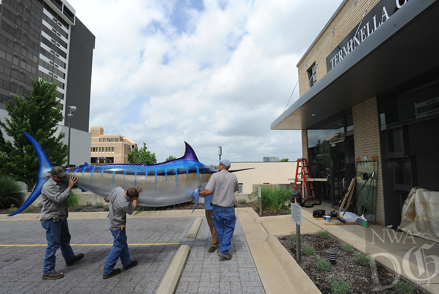 NWA Media/ANDY SHUPE - Nick Phillips, right, Adam Yates, Chris Mariott and Collan Lee, all of Razorback Ironworks in Fayetteville, maneuver a large fiberglas marlin Monday, June 16, 2014, as they prepare to load it into the By Request for Men store on Meadow Street in Fayetteville. The fish is reportedly a replica of the largest Atlantic blue marlin ever caught in North America and will displayed in the store along with other mounted fish.