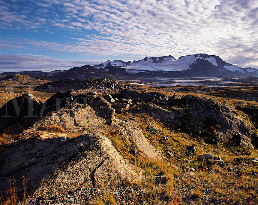 The Fannaraken peaks seen across a rocky foreground of tundra dotted with glacial lakes, Jotunehim, Norwa
