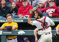NWA Democrat-Gazette/BEN GOFF @NWABENGOFF<br /> Casey Opitz, Arkansas catcher, catches a foul ball in the 7th inning vs LSU Saturday, May 11, 2019, at Baum-Walker Stadium in Fayetteville.