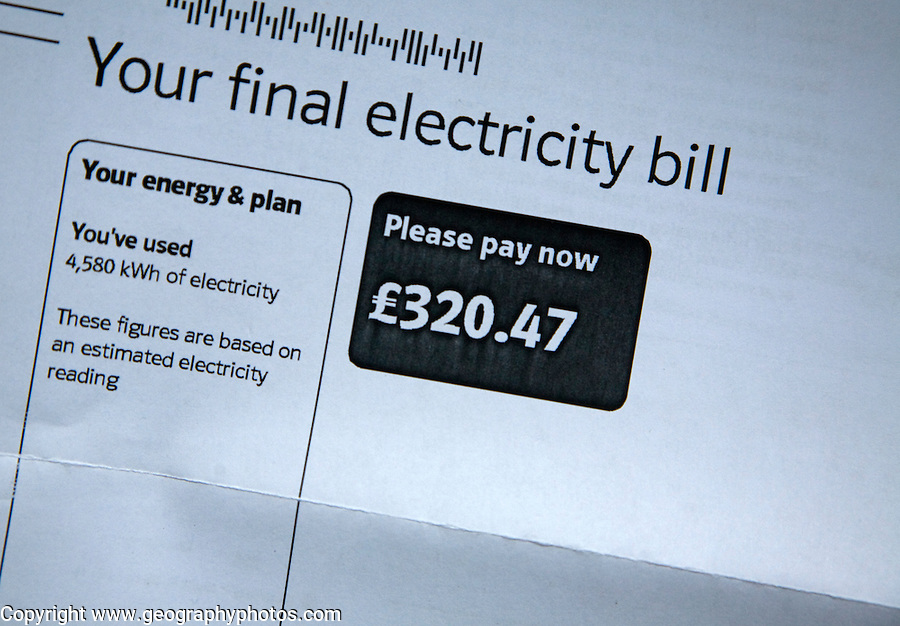Final electricity bill, UK