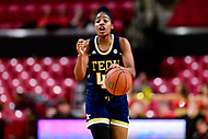 College Park, MD - NOV 29, 2017: Georgia Tech Yellow Jackets guard Kierra Fletcher (41) calls out a play during ACC/Big Ten Challenge game between Gerogia Tech and the No. 7 ranked Maryland Terrapins. Maryland defeated The Yellow Jackets 67-54 at the XFINITY Center in College Park, MD.  (Photo by Phil Peters/Media Images International)