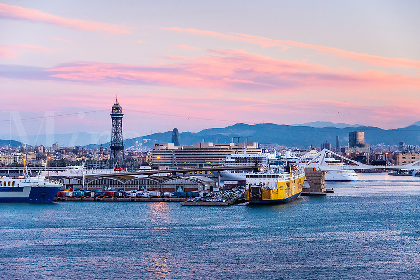 Harbor and downtown Barcelona, Spain.