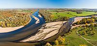 France, Cher (18), Nièvre (58), Cuffy, le Bec d'Allier, confluence de l'Allier à droite et de la Loire à gauche (vue aérienne) // France, Cher, Cuffy, the Bec d'Allier, confluence of the Allier on the right and the Loire left (aerial view)