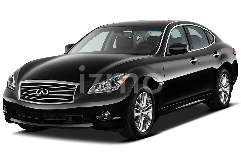 Front three quarter view of a 2012 Infiniti M Hybrid.