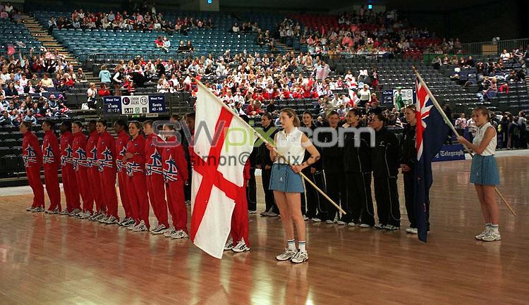 Pix: Ben Duffy/SWpix.com. International Netball. England v New Zealand. Test Series 2003. London Arena, Docklands London. 28/02/03..COPYRIGHT PICTURE>>SIMONWILKINSON>>01943 436649>>..England line up with New Zealand for the National Anthems.