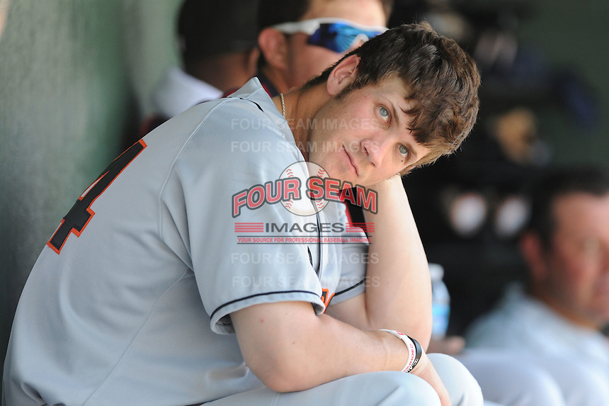 Hagerstown Suns Bryce Harper #34 cools off in the dugout during a game against the Kannapolis Intimidators at Fieldcrest Cannon Stadium in Kannapolis,  North Carolina;  May 30, 2011.  The Intimidators won the game 3-0.  Photo By Tony Farlow/Four Seam Images