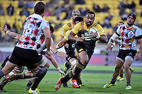 Hurricanes' Ngani Laumape in action during the Super Rugby - Hurricanes v Southern Kings at Westpac Stadium, Wellington, New Zealand on Friday 25 March 2016.<br /> Photo by Masanori Udagawa. <br /> www.photowellington.photoshelter.com.