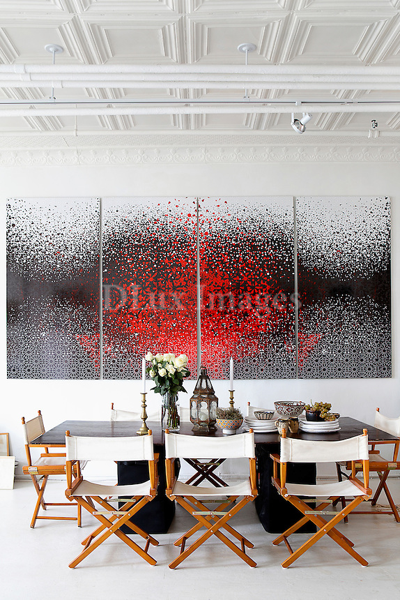Modern red painting in the dining room