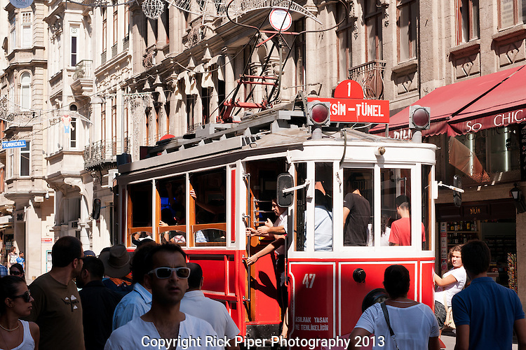 Nostalgic Tram 03 - The Nostalgic Tram, an original streetcar built in the early 20th-century, running between Tunel and Taksim in Istiklal Caddesi, Beyoglu, Istanbul, Turkey