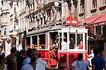Nostalgic Tram 03 - The Nostalgic Tram, an original streetcar built in the early 20th-century, running between Tunel and Taksim in Istiklal Caddesi, Beyoglu, Istanbul, Turkey
