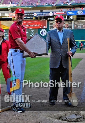 23 September 2007: Washington Nationals Manager Manny Acta (left) and Owner Theodore Lerner (right) hold Home Plate in a post-game ceremony removing the plate from Robert F. Kennedy Memorial Stadium after the final home game for the Nationals in 2007. The game also marked the very last professional baseball game to be held at RFK Stadium having been played against the Philadelphia Phillies in Washington, DC. The Nationals defeated the visiting Phillies 5-3. The Nationals will open up the 2008 season at Nationals Park, their new facility currently under construction.. .Mandatory Photo Credit: Ed Wolfstein Photo