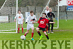 Park's Cian Cooney and Charleville's Rory Troy  at the School Soccer National Cup St Brendans Park U13 v Charleville at Christy Leahy Park on Saturday