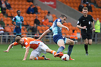 Nick Freeman of Wycombe Wanderers battles with Jim McAlister of Blackpool during the Sky Bet League 2 match between Blackpool and Wycombe Wanderers at Bloomfield Road, Blackpool, England on 20 August 2016. Photo by James Williamson / PRiME Media Images.