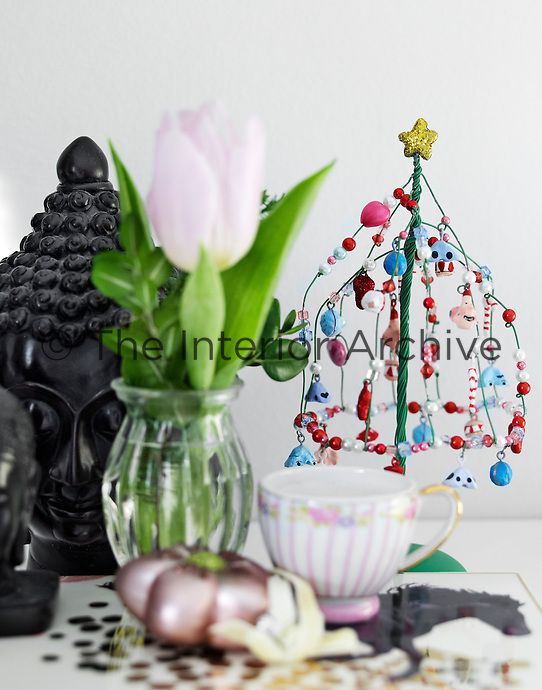 A bead Christmas tree is a contemporary but equally festive take on the traditional decoration