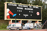 05 September 2008: The scoreboard at the stadium. The United States Men's National Team held a training session at Estadio Nacional de Futbol Pedro Marrero in Havana, Cuba in preparation for their 2010 FIFA World Cup Qualifier against Cuba the next day.