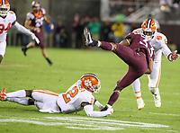 Blacksburg, VA - September 30, 2017: Clemson Tigers cornerback Mark Fields (2) tackles Virginia Tech Hokies running back Deshawn McClease (33) during the game between Clemson and VA Tech at  Lane Stadium in Blacksburg, VA.   (Photo by Elliott Brown/Media Images International)