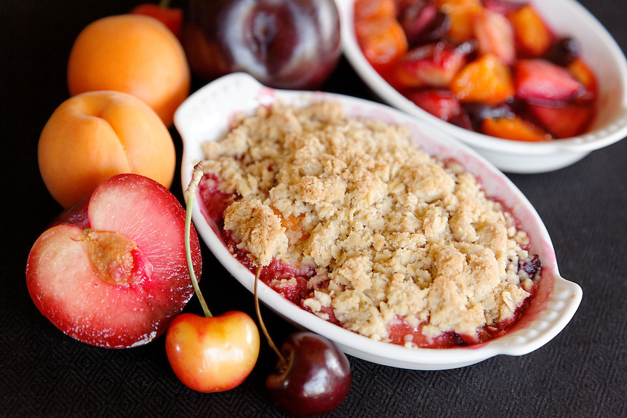 Stone fruits baked in ramekin, by pastry chef Laurie Pfalzer, Pastry Craft