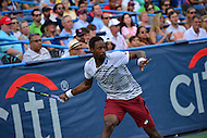 Washington, DC - July 23, 2016: Gael Monfils plays a shot during his semi-final match against Alexander Zverev in the Citi Open at the Rock Creek Park Tennis Center in the District of Columbia, July 23, 2016  (Photo by Don Baxter/Media Images International)