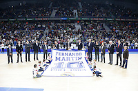 Memorial Service Fernando Martin died 30 years ago. Collect shirt and board his brother Antonio Martin both former players of Real Madrid<br /> 2014 November 30 Madrid Spain. ACB LIGA ENDESA 14/15, 9&ordm; Match, match played between Real Madrid Baloncesto vs CAI Zaragoza at Palacio de los deportes stadium.