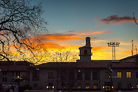 Sunset behind the Johnson Student Center (JSC) of Occidental College on Feb. 4, 2016.<br />
