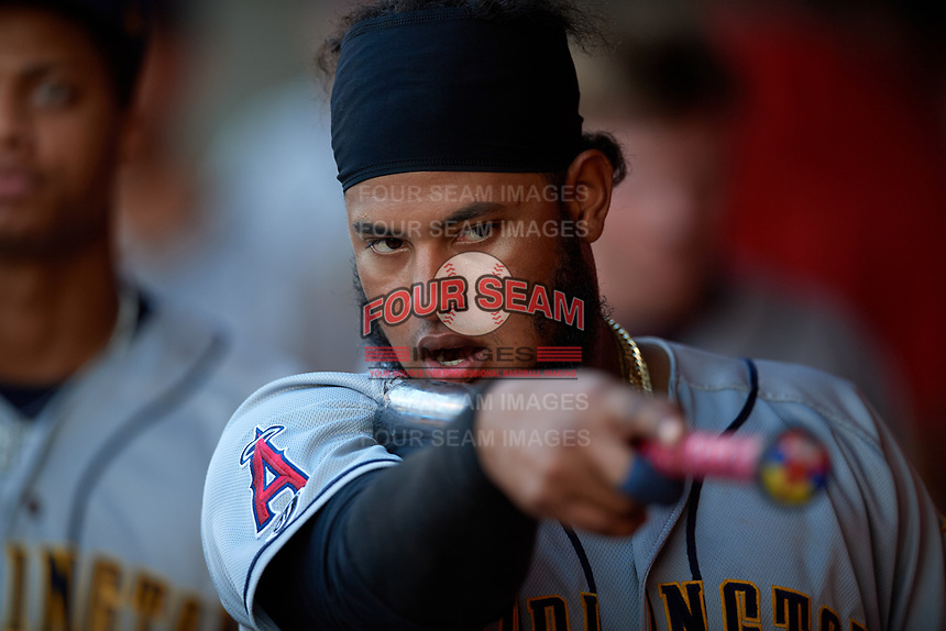 Burlington Bees Kevin Maitan (24) during a Midwest League game against the Lansing Lugnuts on July 18, 2019 at Cooley Law School Stadium in Lansing, Michigan.  Lansing defeated Burlington 5-4.  (Mike Janes/Four Seam Images)