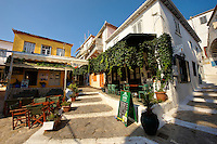 Restaurant in the narrow streets & houses of Hydra, Greek Cyclades Islands