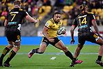 Hurricanes' Ngani Laumape in action during the Super Rugby - Hurricanes v Chiefs at Westpac Stadium, Wellington, New Zealand on Friday 13 April 2018.<br /> Photo by Masanori Udagawa. <br /> www.photowellington.photoshelter.com
