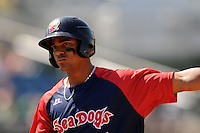Portland Sea Dogs shortstop Xander Bogaerts #7 during a game versus the Altoona Curve at Hadlock Field in Portland, Maine on June 2, 2013. (Ken Babbitt/Four Seam Images)